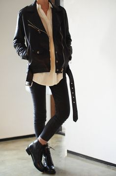 black vintage jacket + white buttondown + black pants