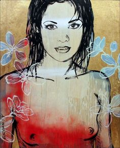 DAVID BROMLEY Nude Belinda Polymer & Gold Leaf on Canvas 150cm x 120cm