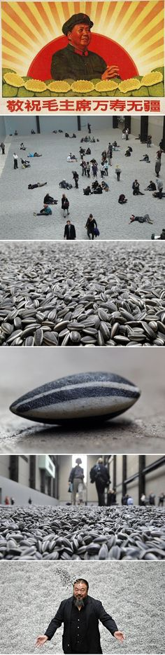 Chinese artist Ai Weiwei has covered the floor of the Turbine Hall at Tate Modern in London with more than 100 million individually handmade replica sunflower seeds.