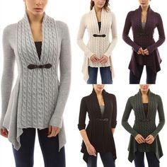 d5ef13486a7 2016 Women Buckle Braid Front Knitted Cardigan Irregular Hem Coat Winter  Sweater