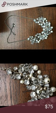 BANANA REPUBLIC pearl crystal statement necklace Luminous pearls and glass crystal stones cluster together on this timeless and unique piece. Amazing with anything collared!! First photo actual necklace. Last photo for styling inspo. Adjustable latch  closure - Can be worn longer or shorter for different looks Banana Republic Jewelry Necklaces
