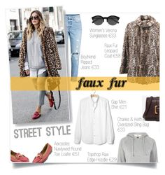 """Wow Factor: Faux Fur (StreetStyle)"" by elisabetta-negro ❤ liked on Polyvore featuring H&M, Topshop, Gap, Gucci, Aerosoles, EyeBuyDirect.com and CHARLES & KEITH"