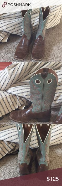 Ariat square toe boots SUPER cute boots!! And very comfortable , they are in very good condition. They are a little big on me so I'm trying to sell them! Ariat Shoes Heeled Boots