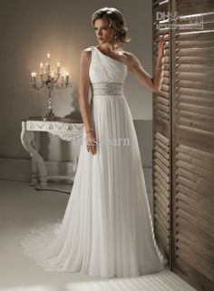 Wholesale Classic Greek One shoulder Wedding Bridal Bridesmaid Gown/Prom Ball Evening dress New Beads Chiffon, Free shipping, $100.8-123.2/Piece | DHgate