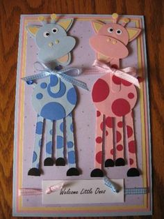 Baby Cards Giraffe Punch Art 44 Ideas For 2019 Baby Shower Cards, Baby Cards, Kids Cards, Paper Punch Art, Punch Art Cards, Baby Kind, Creative Cards, Cute Cards, Greeting Cards Handmade