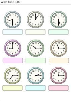Actividades para niños preescolar, primaria e inicial. Plantillas con relojes analogicos para aprender la hora diciendo que hora es. Que hora es. 8