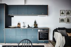A compact kitchen module base from Ikea, upgraded with blue cabinet fronts from Reform Copenhagen. Kitchen Cabinets Decor, Farmhouse Kitchen Cabinets, Kitchen Cabinet Design, Kitchen Ideas, Kitchen Trends, Attic Renovation, Attic Remodel, Attic Apartment, Attic Rooms