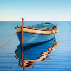 """Simple and beautiful. """" Waiting for The Crew"""" original gallery artwork painting of a boat on the sea realism art by artist Horacio Cardozo. Pinterest Pinturas, Realistic Oil Painting, Boat Art, Wooden Boats, Fishing Boats, Sport Fishing, Sea Fishing, Canvas Art, Painting Canvas"""