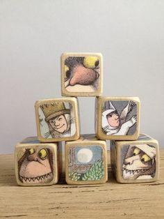 A set of handmade wooden blocks featuring scenes from Maurice Sendak's classic Where the Wild Things Are makes an heirloom-quality first birthday gift. First Birthday Gifts, First Birthdays, Recycled Books, Gifted Kids, Wood Toys, Book Crafts, Baby Love, The Book, Making Ideas