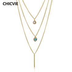 CHICVIE Long Crystal Evil Eye Statement Necklace Multi-Layer Gold Chain Necklaces For Women Ethnic Jewelry Vintage Accessories