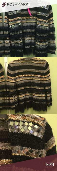 Chico's sweater with fringe fur & bead details Chico's soft & fun sweater with black fringe/furry details & square bead details. Size 0 Chico's excellent condition. Chico's Sweaters