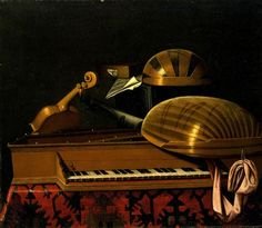 "Bartolomeo Bettera, ""Still Life with Musical Instruments and Books"", mid-17th century, oil on canvas. www.italianways.com/music-and-still-lifes-by-bartolomeo-bettera/"