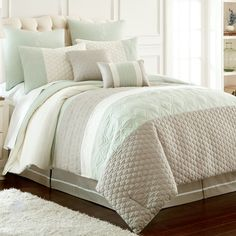 Queen Comforter Set Palisades Embroidered Comforter Set Ella Embellished Comforter Set Mainstays Tribal Black and White Bed in a Bag Bedding Ruffle Bedding, Grey Bedding, Luxury Bedding, Bedroom Comforters, Rustic Bedding, Blue Comforter Sets, Bedding Sets, King Comforter, Camas King