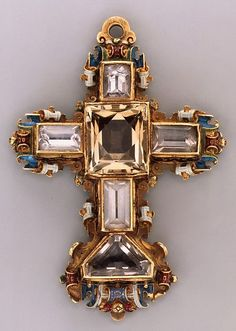Cross, Reliquary, Germany; gold, enamel, rock crystal, circa 1586