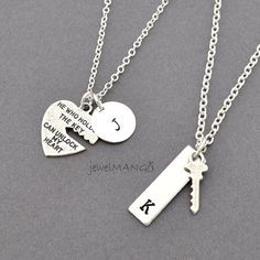 key to my heart COUPLE necklace mr. mrs.hand by JewelMango on Etsy, $34.90