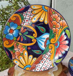 "Talavera Mexican Pottery Lunch Dinner Plate 11 3 4"" Hand Painted Lead Free CD 