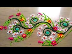 How to make easy and simple/unique border rangoli designs by Jyoti Rathod,rangoli,festival rangoli Indian Rangoli Designs, Rangoli Designs Flower, Rangoli Border Designs, Small Rangoli Design, Rangoli Ideas, Rangoli Patterns, Best Rangoli Images, Simple Rangoli Designs Images, Colorful Rangoli Designs