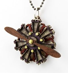 Radial Propeller Engine Pendant - Made from Wood