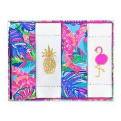style: Exotic Garden These cocktail napkins are sure to impress with their bright patterns and gold-embroidered accents. - Cotton with embroidered details - Features gold Lilly Pulitzer® logo - Set of