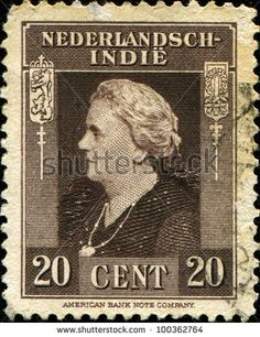 DUTCH EAST INDIES - CIRCA 1945: A stamp printed in the Netherlands Indies shows image of Queen Wilhelmina of the Netherlands, circa 1945