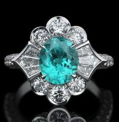 Paraiba tourmaline, diamond and platinum ring | Oliver and Espig