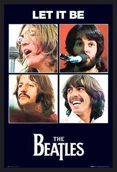 Poster com Moldura Quadro Decorativo Álbum Let It Be da Banda The Beatles 64x94cm - Decore Pronto
