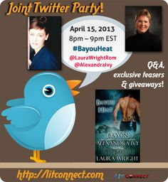 Twitter party! 4/15/13 8-9pm EST: Bayon/Jean-Baptiste; Bayou Heat series by Laura Wright & Alexandra Ivy
