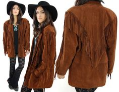Vintage 70s HIPPIE Dark Brown Fringe Suede Leather Jacket Shoulder Padding / Large
