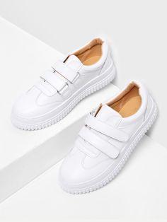 aeb038305a1e09 Shop Pu Velcro Round Toe Sneakers online. SheIn offers Pu Velcro Round Toe  Sneakers