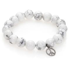 Sydney Evan Diamond & Howlite Beaded Peace Sign Charm Bracelet ($755) ❤ liked on Polyvore featuring jewelry, bracelets, apparel & accessories, white marble, bracelet bead charms, bead charms, 14 karat gold charm bracelet, 14 karat gold charms and diamond charms