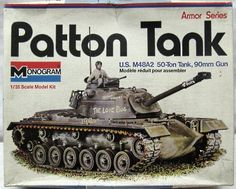 Monogram Patton Gun Tank - With Diorama Instructions and Eight Figures, 8217 plastic model kit Vintage Toys 1970s, Vintage Models, Old Models, Plastic Model Kits, Plastic Models, Monogram Tank, Patton Tank, Monogram Models, New Aircraft