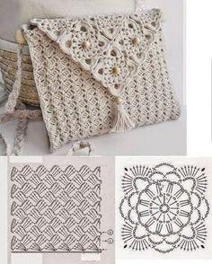 New ideas for crochet lace bag pattern granny squares Crochet Clutch Bags, Crochet Wallet, Crochet Purse Patterns, Crochet Handbags, Crochet Gifts, Crochet Purses, Crochet Bags, Crochet Diagram, Crochet Motif