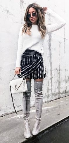 how to style over knee boots_white sweater + bag + printed skirt