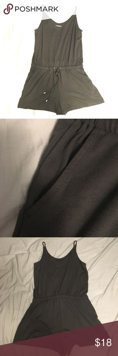 LOU & GREY Hunter Green Romper Spaghetti strap shorts romper Lou & Grey Dresses