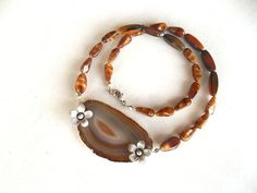 Agate Jewelry Necklace  Brown Agate   Silver Flower  by GULDENTAKI, $46.00
