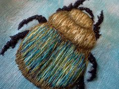 scarab, finished with metallic thread by sandySTC, via Flickr