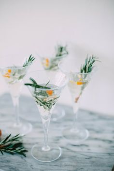 champagne, orange bitters + a squeeze of orange juice, garnished with orange peel + rosemary.