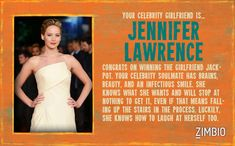 I took Zimbio's celebrity girlfriend quiz and my true love is Jennifer Lawrence! Who's yours?