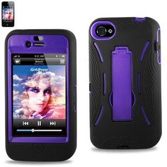 Hybrid I Phone 4S /4 Case - w/ Outer Shell Kickstand & FREE Screen Protect $9.95