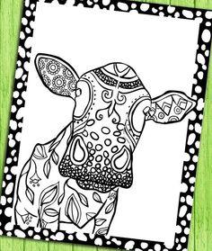 Digital Adult Coloring Book Page Cow By SelahWorksArt On Etsy