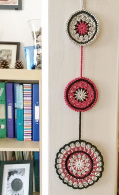 Noir and pomegranate mandala crochet wall pendant