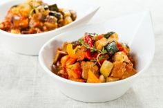 Quinoa With Roasted Ratatouille - Quinoa is one of the few grains that can boast being a complete protein. It is a great addition to any menu, vegetarian or otherwise. Roasting makes a flavorful version of ratatouille,  Choose small, firm zucchini and the small, slender Asian eggplants if you can find them -- they don't need to be salted and sweated before cooking. If you like spicy food, swap the red pepper for a couple of dark green poblano peppers.