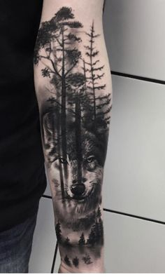 We provide a large rich gallery of wolf tattoo designs for both men and women that will make you squeal to have one. We will be discussing the meaning and perfect body placement for the wolf tattoo. Forest Tattoo Sleeve, Wolf Tattoo Sleeve, Forest Tattoos, Nature Tattoos, Wolf Sleeve, Wolf Tattoo Forearm, Tattoo Sleeves, Arm Tattoos For Guys Forearm, Sleeve Tattoos For Men