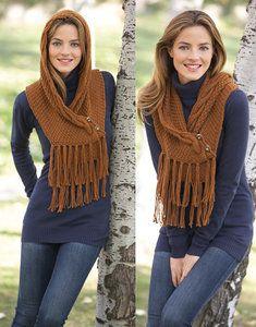 pattern knit crochet woman hooded scarf autumn winter katia 6896 26 p Crochet Fringe, Crochet Poncho, Crochet Scarves, Hand Knitting, Knitting Patterns, Crochet Patterns, Knitting Stitches, Knitting Needles, Hooded Scarf Pattern