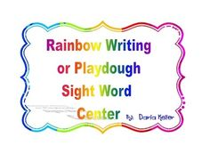 Sight Word Rainbow Writing or Play-Dough Mats from Kellers Kindergarten on TeachersNotebook.com -  (77 pages)  - These mats would be great to use in a center to practice writing sight words.  You could do rainbow writing or use play-dough to spell out the words.