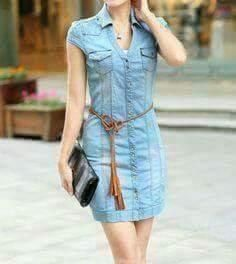 Stunning How To Wear Denim Dresses Ideas Simple Outfits, Simple Dresses, Casual Dresses, Cool Outfits, Casual Outfits, Denim Dresses, Chambray Dress, Denim Outfit, Jeans Dress