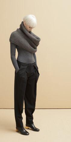 Look 18: Vita Snood in Granite // Fine Gauge Turtle Neck in Granite // Magnus Pleat Trouser in Black