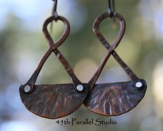 Unique Copper Mixed Metal Earrings by 45thParallelStudio