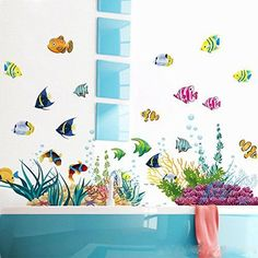 ElecMotive Ocean Wall Stickers for Under the Sea Theme Fish Coral Wall Mural New #ElecMotive