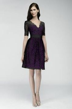 Watters Bridesmaid Dress with sleeves. Purple and black lace.